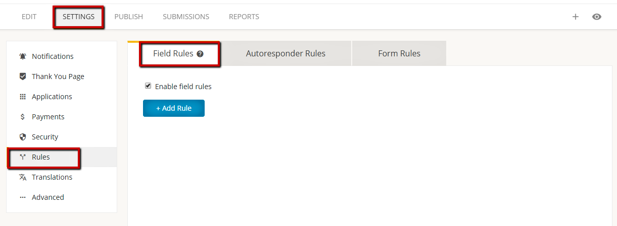 123FormBuilder createrules that affect ></p> <p><b>Field Rules</b> affect the behavior of your online form while it is being used. Here you can show or hide certain fields based on the input given by your submitters. These type of rules are applied in real-time, while the end users fill in the the online form.</p> <p><b>Autoresponder Rules</b> trigger a specific autoresponder when one or more conditions are met. These type of rules apply after the end user submitted the form. </p> <p><b>Form Rules</b> redirect end users to a certain web page that you have provided when some specific conditions are met. For example: You can use this option to redirect users to a different version of your website depending on the language they have selected on the form. Form rules apply after the form is submitted.</p> <p>Besides form fields, you can also include the language field (if using translations) and the quiz score (for quiz forms) in any type of rule.</p> <p><u><em>Important</u>: Separate rules that use the same field will not work on the form. This is due to a conflict issue. We recommend you create advanced rules with several conditions and subrules in the same rule, if needed.</em></p> <p>If you want to use field rules, autoresponder rules or form rules &#8211; tick the option <em>Enable rules for this form</em>. It&#8217;s located under the <b>Field Rules</b> tab and applies to all three type of rules used. </p> <p style=