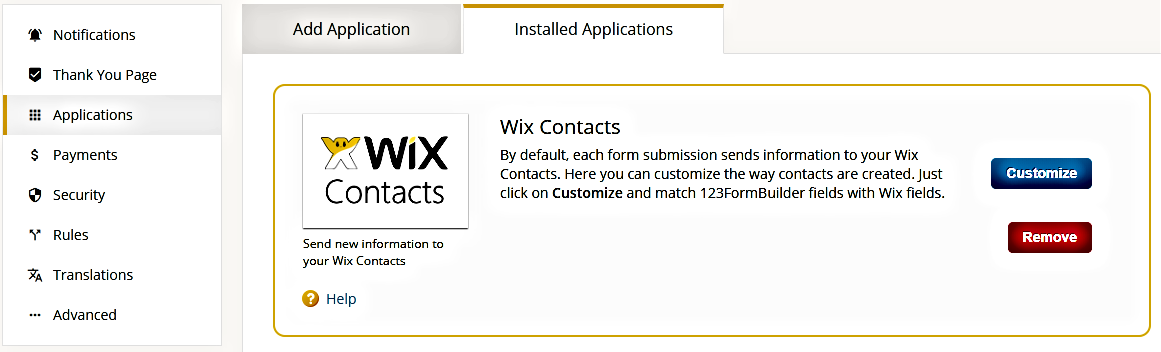 Wix Contacts integration for ></p> <p>Hit <strong>Customize</strong>, tick the checkbox and associate Wix Contacts fields with your form fields. Press <strong>Save</strong> to keep changes and you are done.</p> <p style=