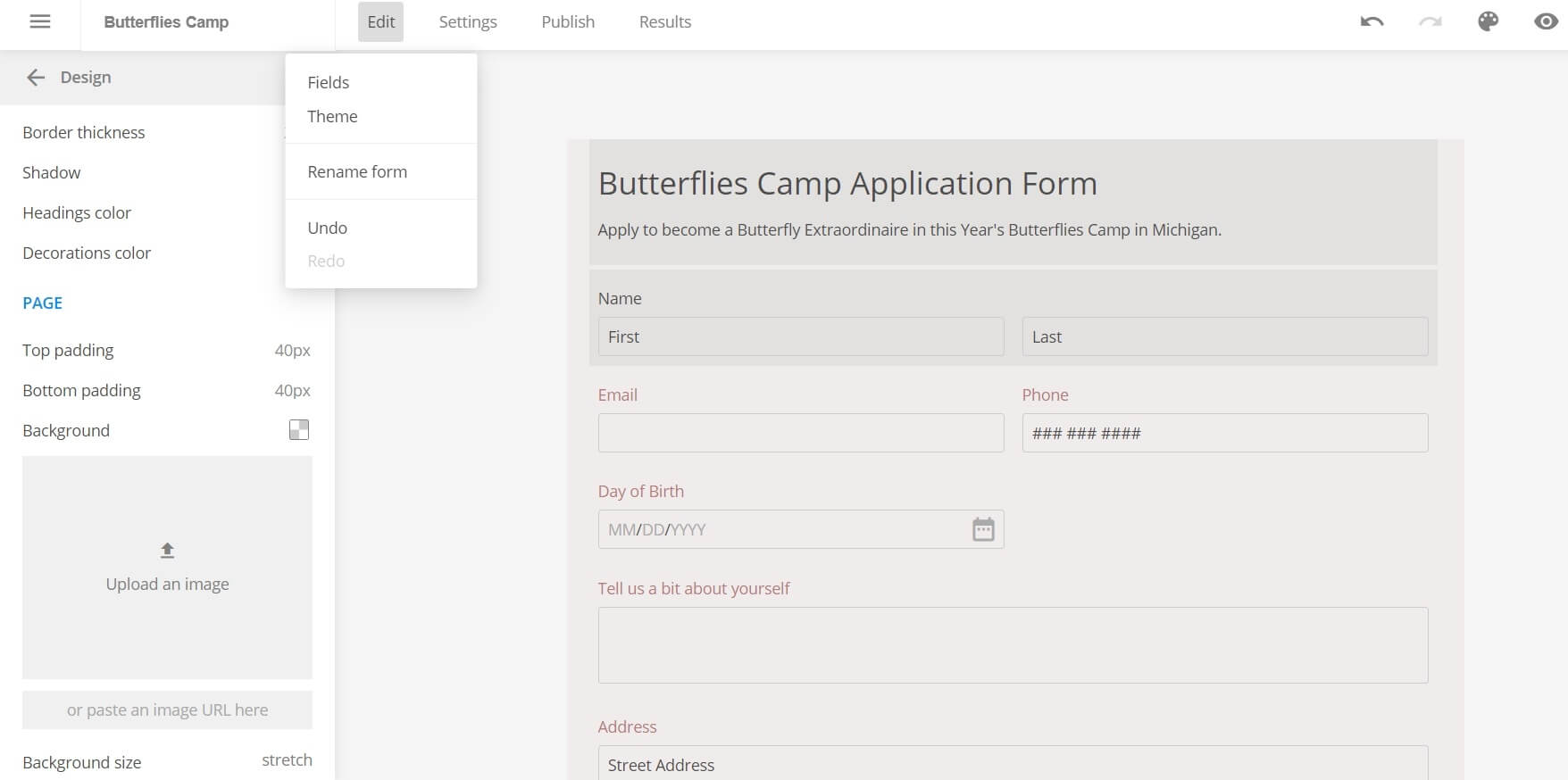 customizing your online application form with 123FormBuilder