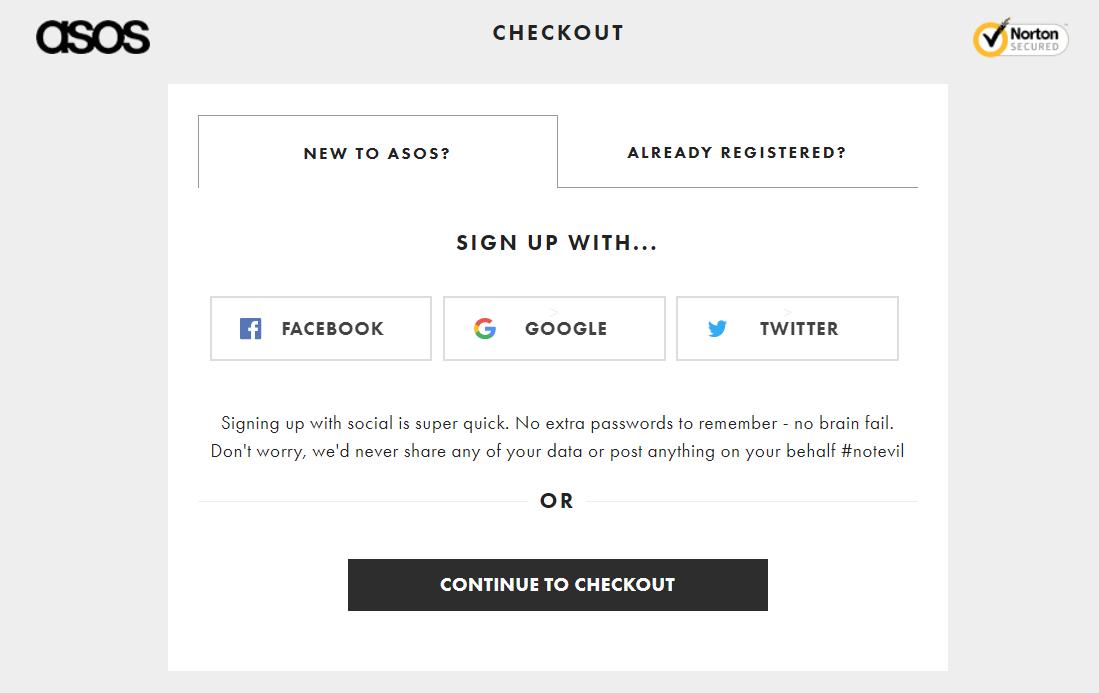asos create account checkout