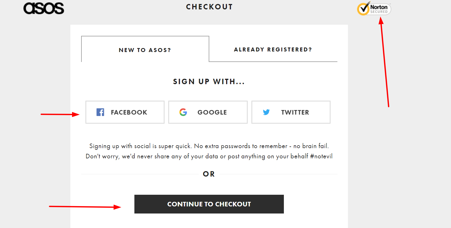 asos guest checkout example