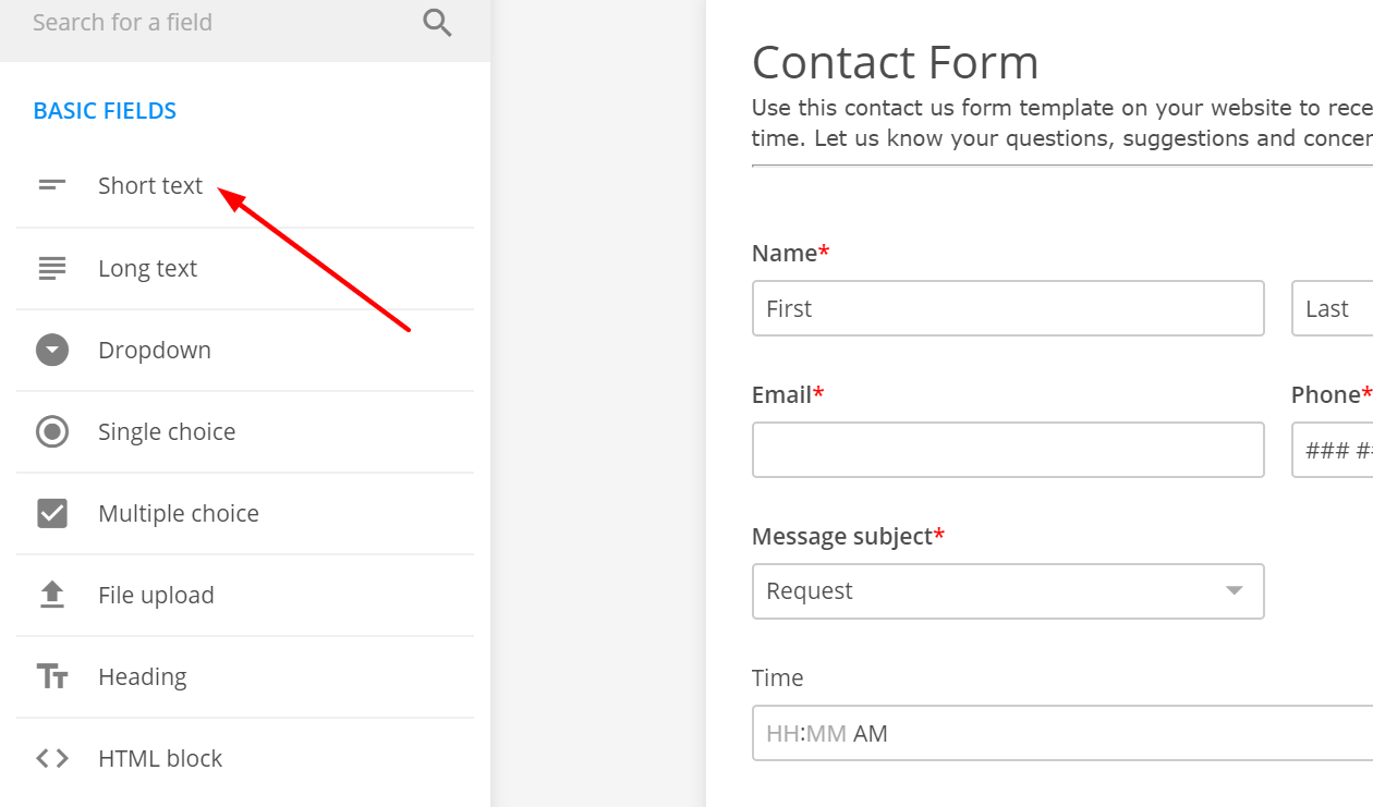 add short text field to the form