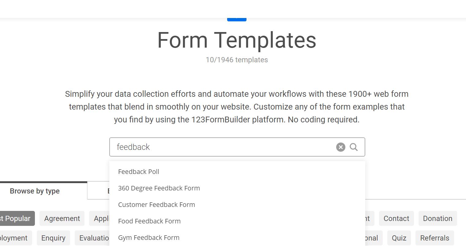 customer feedback templates on 123 form builder
