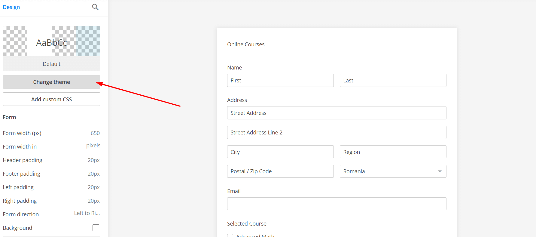 booking form styling