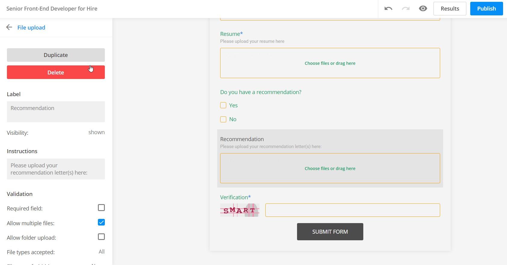 job application form file upload