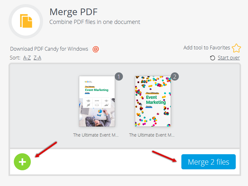 how to merge pdf files with pdfcandy