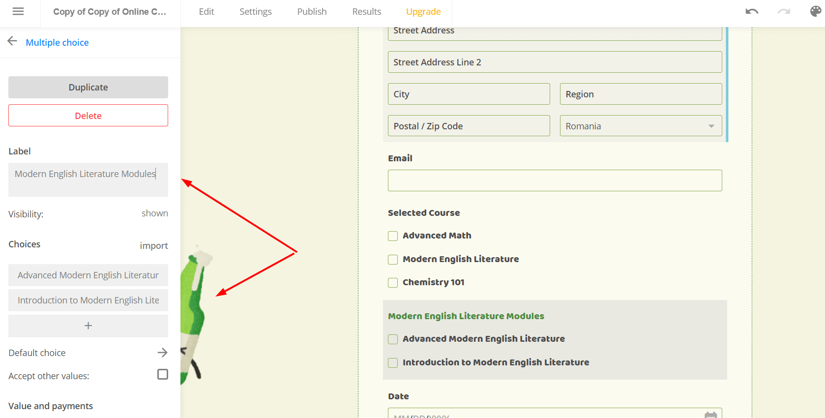 booking system with multiple choice options