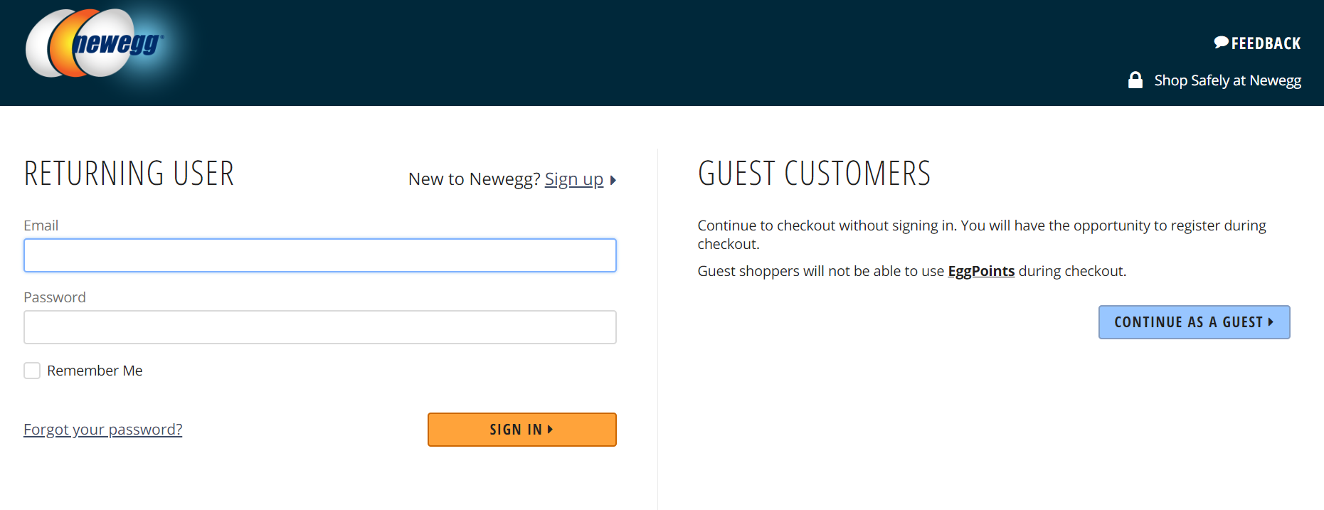 newegg account and guest checkout