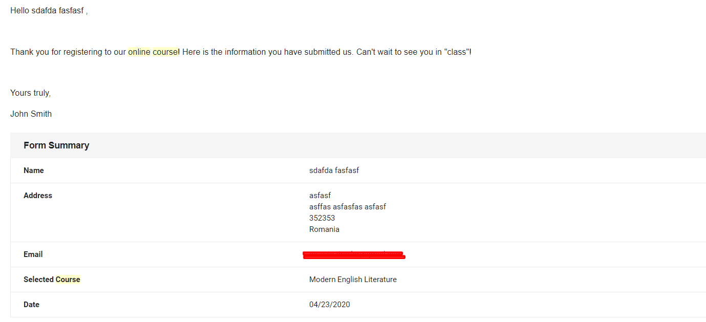 email booking confirmation sample
