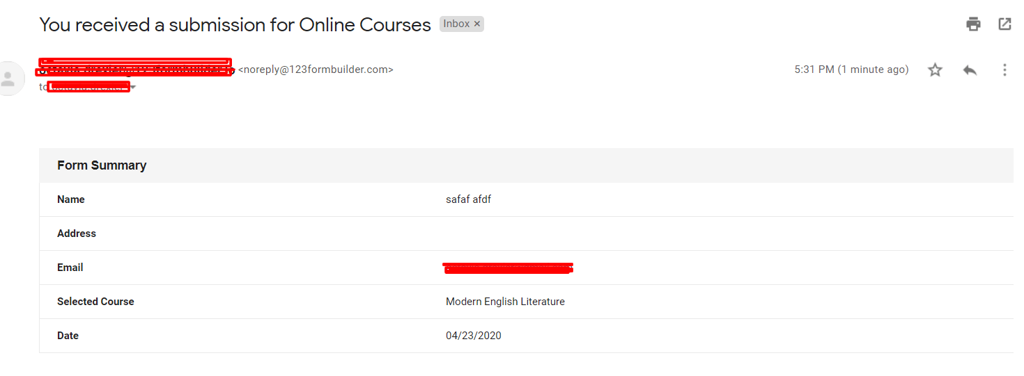 example of an email confirmation for an online course
