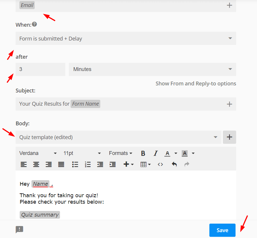 booking form with email setup