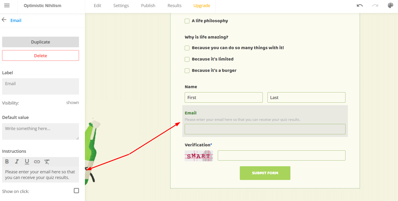 booking form with email field instructions
