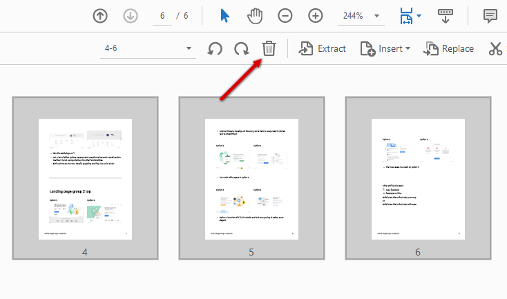 remove pages from pdf with adobe step 2