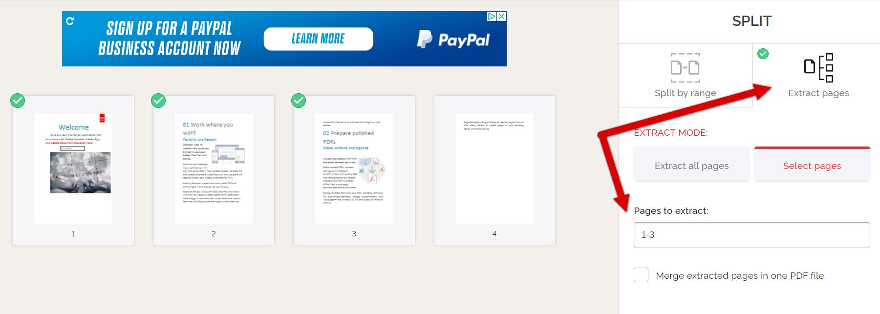 how to split pdf with i love pdf step 2
