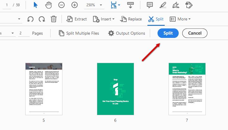 how to split PDF in Adobe Acrobat step 2