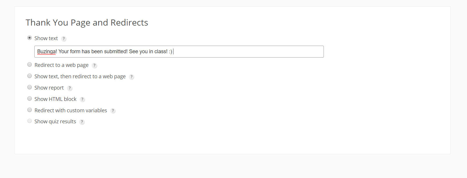 booking confirmation message 123FormBuilder