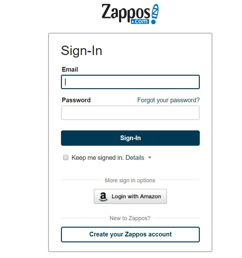 zappos customer account checkout