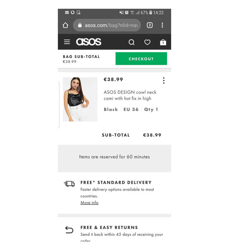 asos mobile checkout design