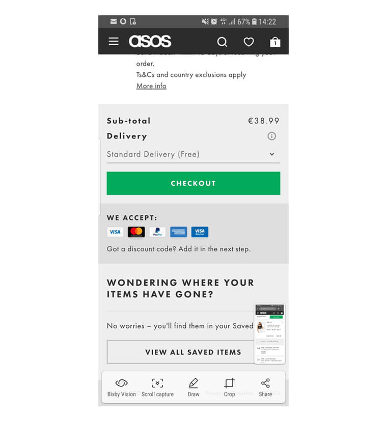 asos mobile checkout