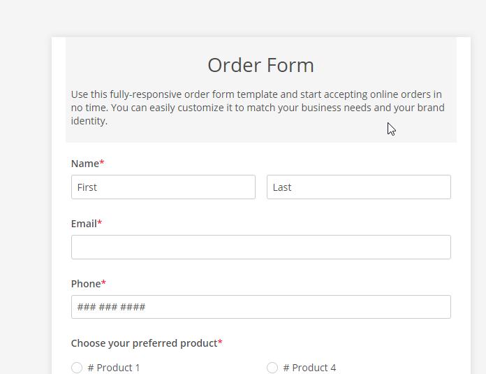 123 order form header