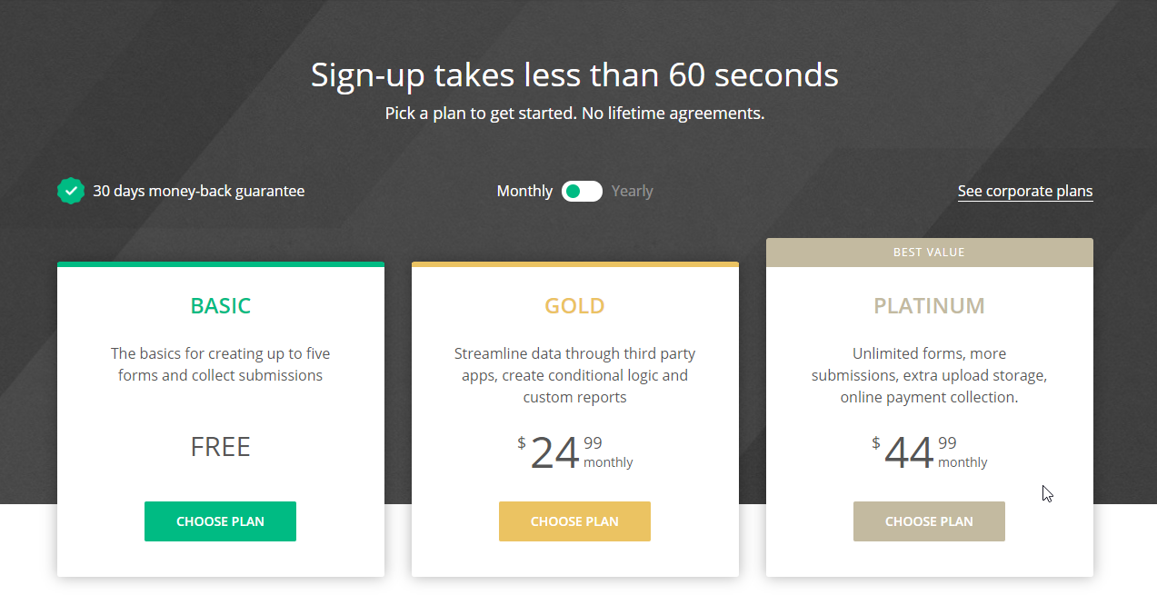123formbuilder pricing page