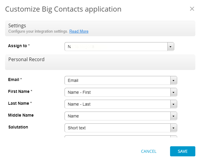big contacts integration for web forms