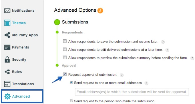 approve form submissions by custom email address