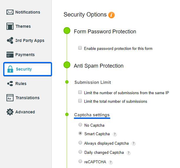 Security CaptainForm web forms