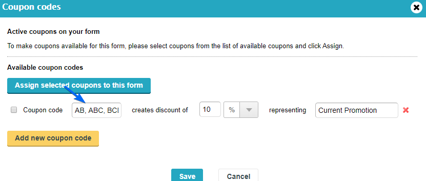 Multiple Coupon Codes for Payment Form - WordPress Form Builder Plugin