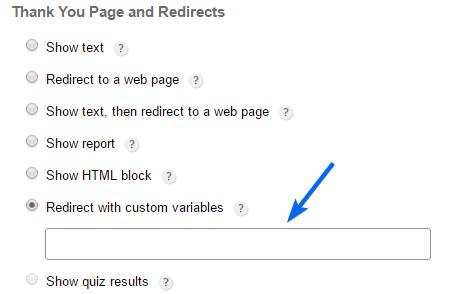 Embedded redirect custom variables