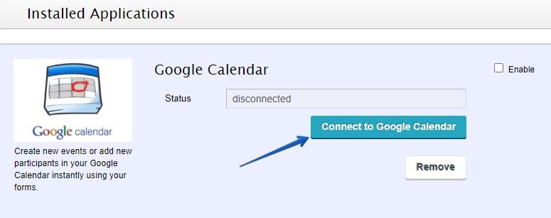 Google calendar addon for WordPress forms