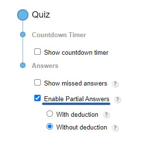 partial answers without deduction quiz forms