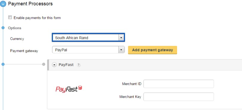 create PayFast order forms