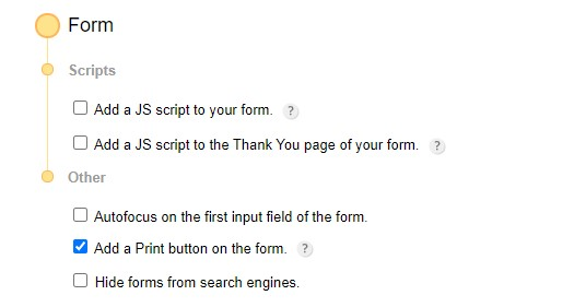 printing forms with user input