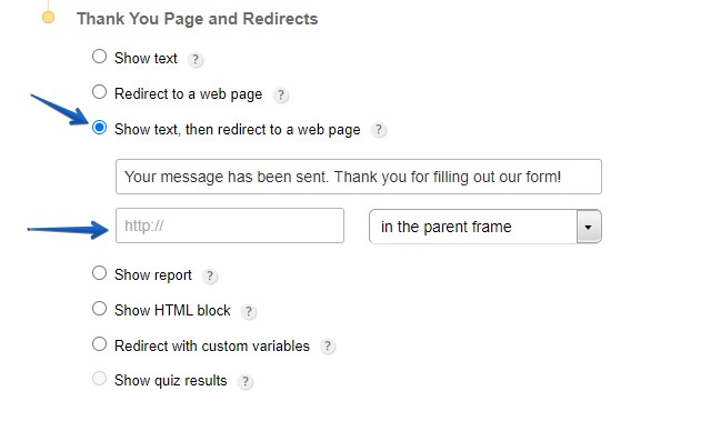 How to redirect users to a web page after submission
