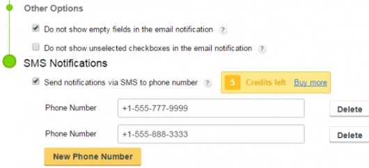 sms notifications on form