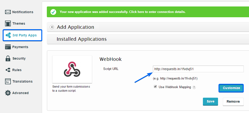 add webhook to wordpress form