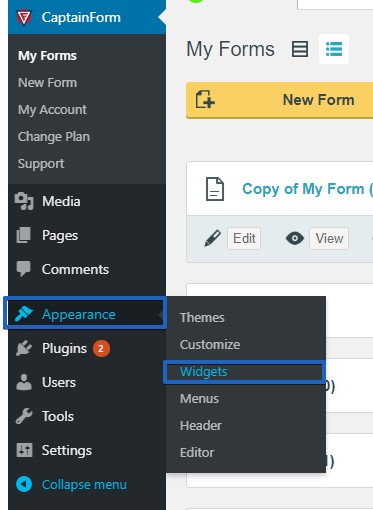 Publish a Form using a Widget on WordPress