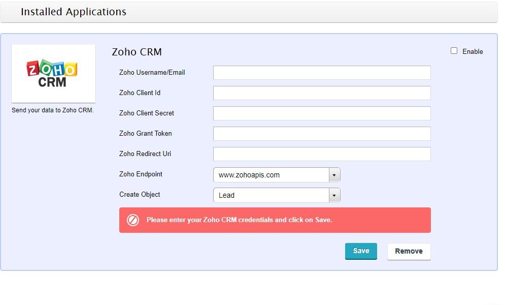 Zoho web form