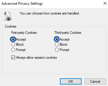 Internet Explorer Third Party Cookies Options