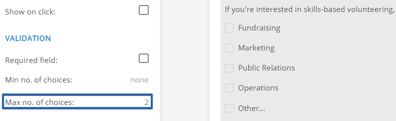 123FormBuilder how to set maximum number of choices for checkbox fields