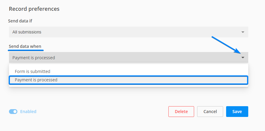 send data after payment