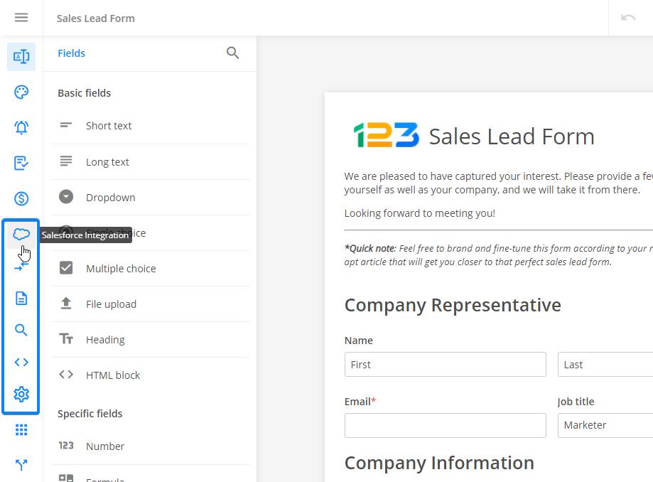Salesforce forms