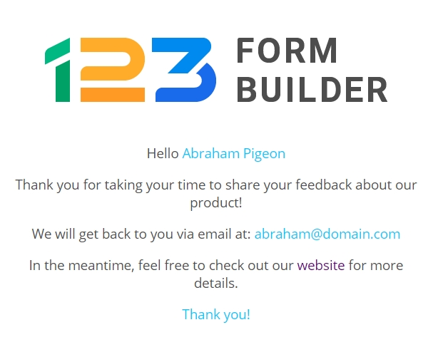 123FormBuilder customize thank you page after submit