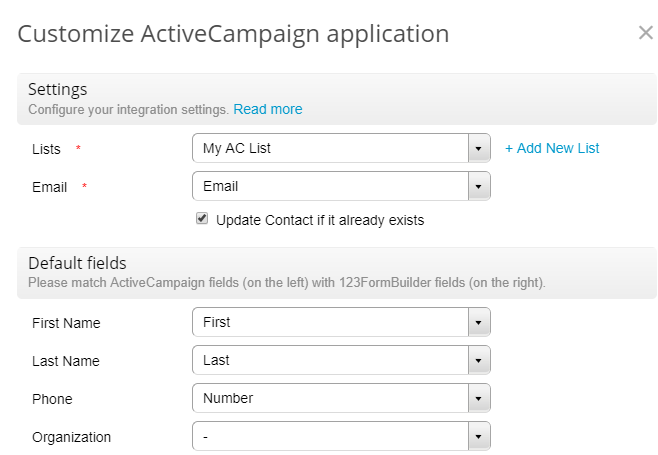 123formbuilder activecampaign integration