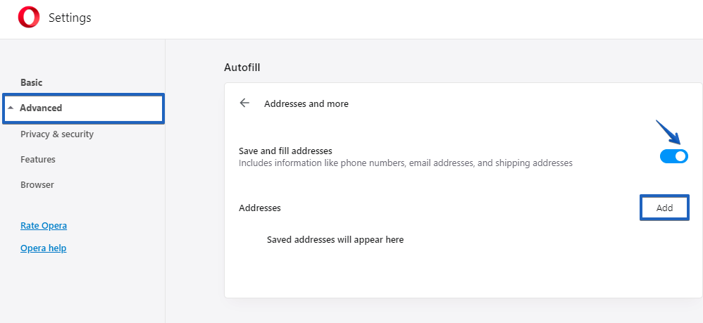 autofill form fields Opera