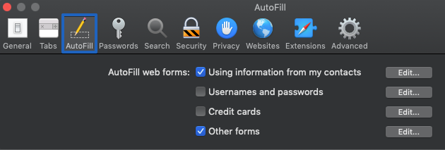 autofill form in Safari