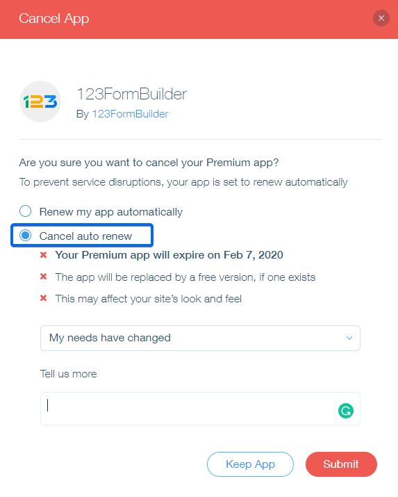 123FormBuilder App for Wix