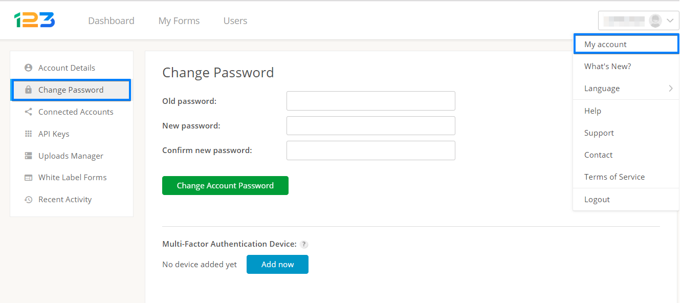 123FormBuilder change password