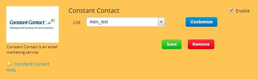 Constant Contact 123FormBuilder integration